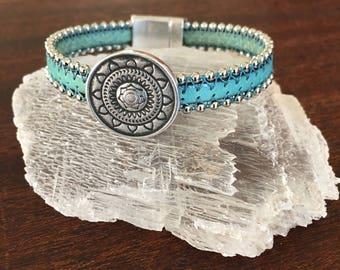 Handmade Ball And Chain Italian Leather Bracelet With Sun Mandala RM484-485