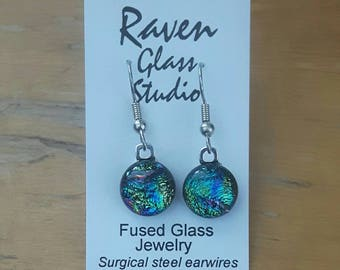 Blue, Green and pink dichroic glass earrings,  Fused glass jewelry, Art glass earrings, Kiln fired glass earrings, Fused glass, EA230