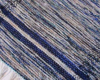 Blues and Gray Wool Woven Table Runner with Borders