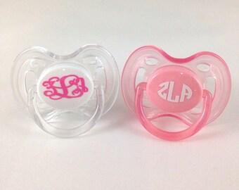 Baby monogram initials for pacifier, binkie, baby shower gift, gift for newborn baby