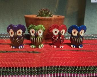 Guatemalan Fortune Owl set SET OF 4