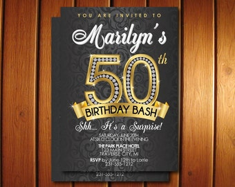 50th Birthday Invitation - Surprise 50th Birthday Party Invitation - Black and Gold Printable