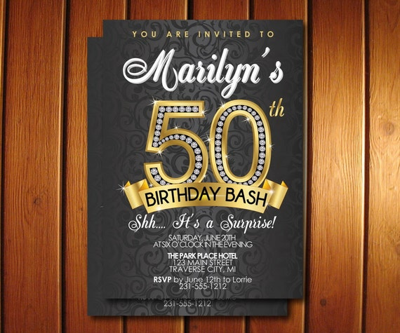 50th Birthday Invitation Surprise 50th Birthday Party – Invitations for a 50th Birthday Party