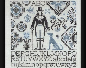 Gentleman Quaker - Chart for counted cross stitch.  Traditional Quaker motifs with a Gentleman and his dog.  Quaker Cross Stitch.