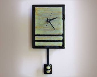 Fused Glass Pendulum Wall Clock - Green Fields