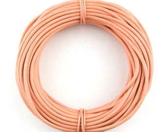 Peach Round Leather Cord 1mm 10 Feet