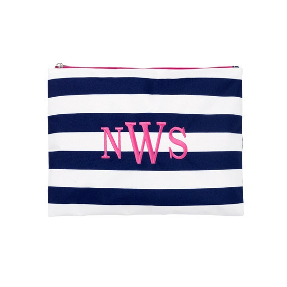 Prep Stripe  zip pouch beach bag  Ultimate tote bag navy blue monogrammed tote bag beach bag pool bag summer bag monogrammed gift