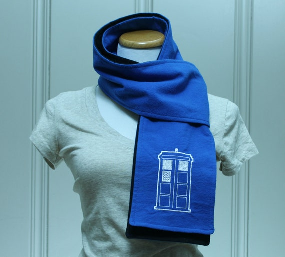 SALE Police Box Blue and Black Flannel Scarf