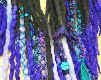 27 Fantasy Synthetic Dreadlock Extensions Dread Hair Wraps & Bead Custom READY TO SHIP set
