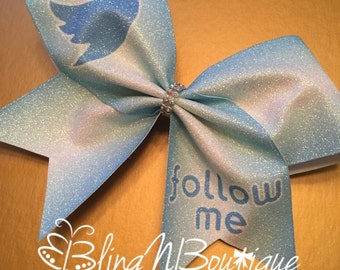 Twitter Cheer Bow - Light Blue Ombre Glitter Cheer Bow - Follow Me