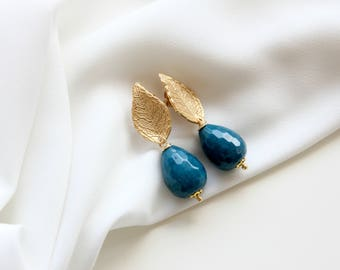 Agate blue earrings