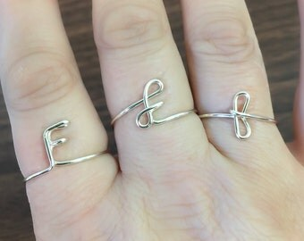 Initial ring, letter F ring, personalized wire initial ring, wire ring, initial f ring, adjustable ring, wire letters, letter ring, F