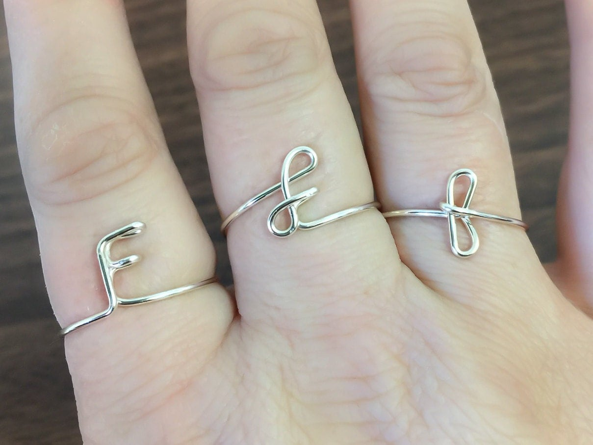 Initial ring letter F ring personalized wire initial ring