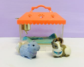 Vintage Littlest Pet Shop, Guinea Pigs Playset, Sparkling Pets, Generation 1 LPS, 1990s Littlest Pet Shop Pigs, 1990s Kenner, 1990s Toys