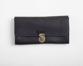 Dark Blue leather wallet,clutch with slots, minimalist  women's wallet, gift for her, purse, wide wallet, christmas gift
