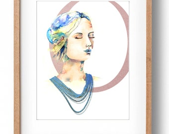 Fashion Illustration, Pearls, Watercolor Fashion Painting, Pearl Necklace, Fashion Art Print, Portrait, Watercolor Fashion Illustration