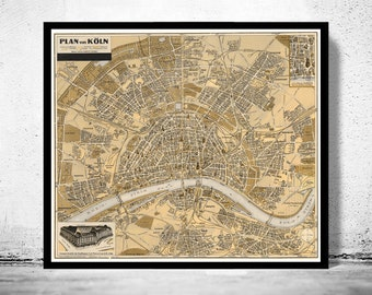 Old Map of Koln Cologne Germany 1930
