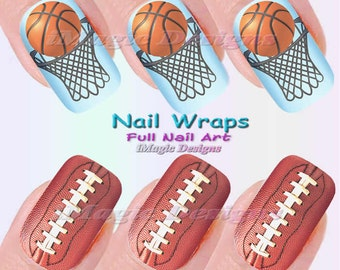 Nail wrap etsy nail wraps waterslide full nail art decals stickers football or basketball prinsesfo Images