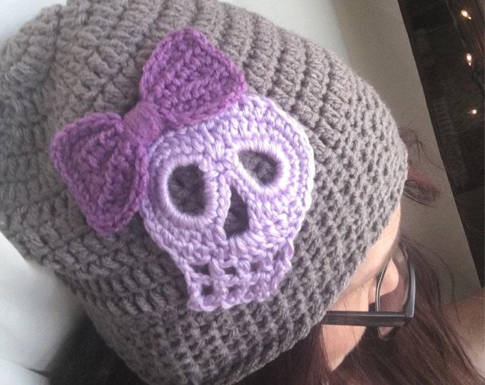 Skull Slouchy Crocheted Beanie-Purple Skull-Grey Hat-Women's Hats-Men's Hats