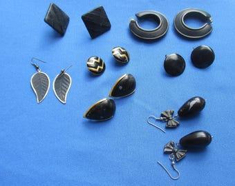 Lot Of Vintage Black Pierced & Clip On Earrings TLC