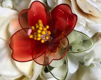 Camellia Tsubaki Wire Resin Flower Brooch, Broach, Formal Occasion