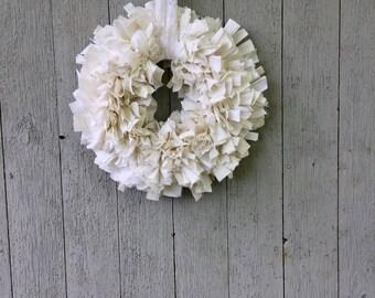 Rag Wreath of white on white cotton with pinked edges