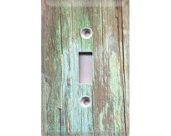 Country Rustic - Green Distressed Wood Light Switch Cover