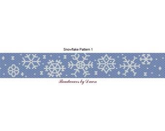 Snowflake Peyote Pattern, Winter Peyote Pattern, Peyote Bracelet Pattern, Peyote Pattern, Beading Pattern, Peyote Stitch, Holiday jewelry