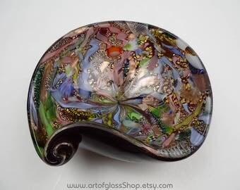 Murano filigree, aventurine, silver leaf ruby glass bowl