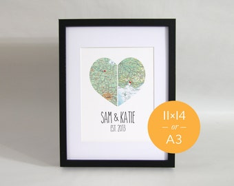 """Personalised Couple Map Heart Print 11x14"""""""
