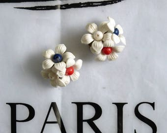 50s tricolore patriotic flower ear clips red white blue