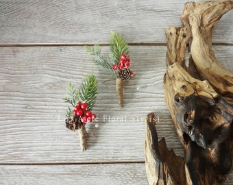 Rustic Winter wedding Groom boutonniere  buttonhole Holiday Spruce Frosted Red Berries Christmas Party