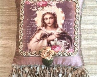 Blessed Mary ..Lavender Scented sachet   hanging pillow.. gift pillow