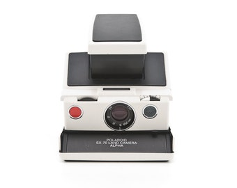 Polaroid SX-70 Land Camera Model 2 ALPHA White Plastic Body with New Black Leather Covering - film tested and Guaranteed Working