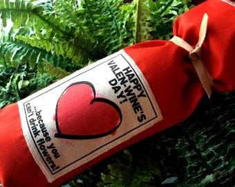 Valentine Gift, Valentine Wine, VALENTINE'S Day Gift, Valentine Favor Gift Bag, Husband, Wife, I Love You, Heart, Valentine's Flowers