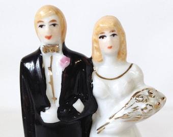 Vintage Porcelain Wedding Cake Topper, Centrepiece, Bride and Groom