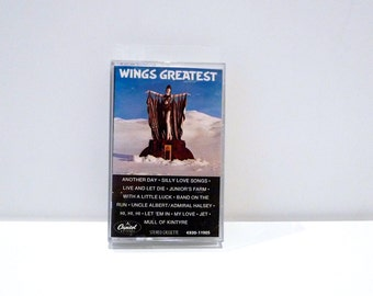 Wings Paul McCartney Cassette Tape Vintage 1978 Band Greatest Hits Live and Let Die Uncle Albert Silly Love Songs My Love Jet Juniors Farm
