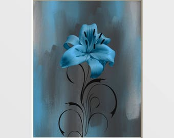Brue Gray Wall Decor, Modern Blue Floral Wall Art Picture, Blue Bedroom Bathroom Decor, 8x10 matted to 11x14 white mat