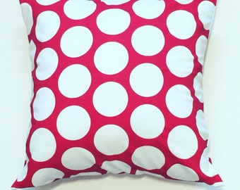 "Red with white polka dots Pillow Cover 18""x18"""