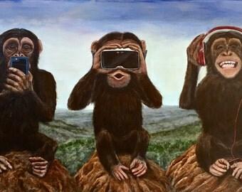 "Speak no see no hear no evil 44"" x 24"" original acrylic painting on masonite with Wood frame."