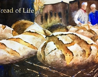 Bread of Life bread oven wood fire fine art print watercolor