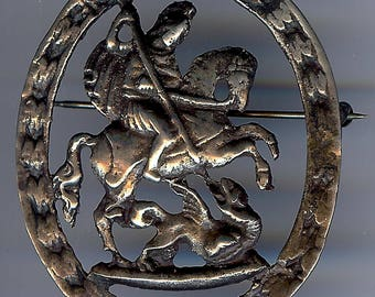 VINTAGE sterling silver SAINT GEORGE & the dragon pin brooch*