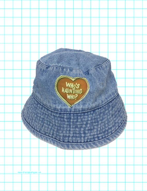 1990's Denim Bucket Hat - Haunted Heart Patched Denim Summer Sun Hat - Upcycled Bucket Hat Tumblr Trendy Hipster - Patch Denim Hat Unisex