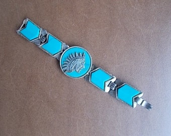 "Indian~Head~Chief~Turquoise~Silver~Bracelet~BIG BOLD STATEMENT~Bracelet~Arrow Head Links~Nicely Made~Fits 7""  Wrist"