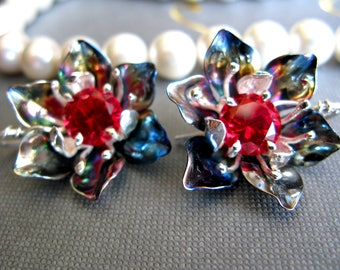 Earrings flowers - Earrings ruby - Earrings from titan and silver - Silver flowers - Titanium flowers - Earrings Magnolia - Black magnolia