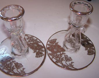 Pair of Silver Overlay Candle Holders