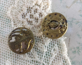 Vintage Brass mirror back buttons