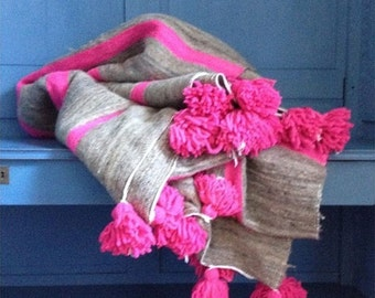 Neon Pink and light brown Strip Wool Pom Pom Blanket