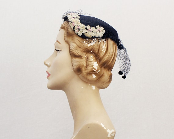 1940s Navy Floral Hat - Vintage 40s Ladies Church Hat
