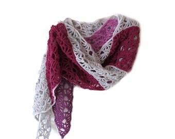 "Crochet Scarf with Triangle Design - Fuchsia, Purple and Pink Crochet Scarf - Unique Handmade Winter Scarf (100""x 10.5"")"
